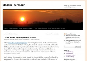 Screen-saved blog post on three books about modern pterosaurs: authors Gerhard, Whitcomb, and McIsaac